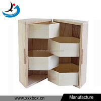 2016 new design pine wood unfinished jewelry box wooden for sale