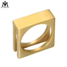 316 L Stainless Steel Gold Plated Square Shape Design Ring For Men
