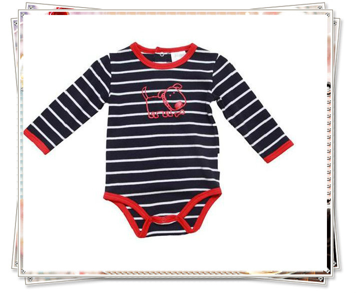 Infant baby striped bodysuit with long sleeve for boys