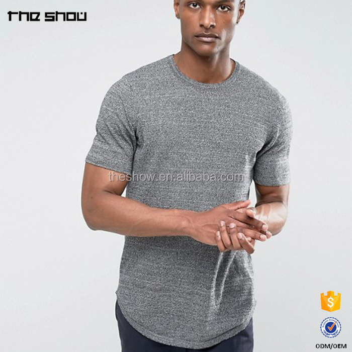 China wholesale high quality curved hem longline blank t shirt mens