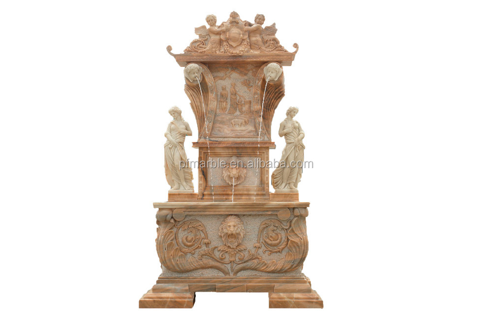 PFM hand carved garden marble fountain with human and animal statue and antique wall fountain