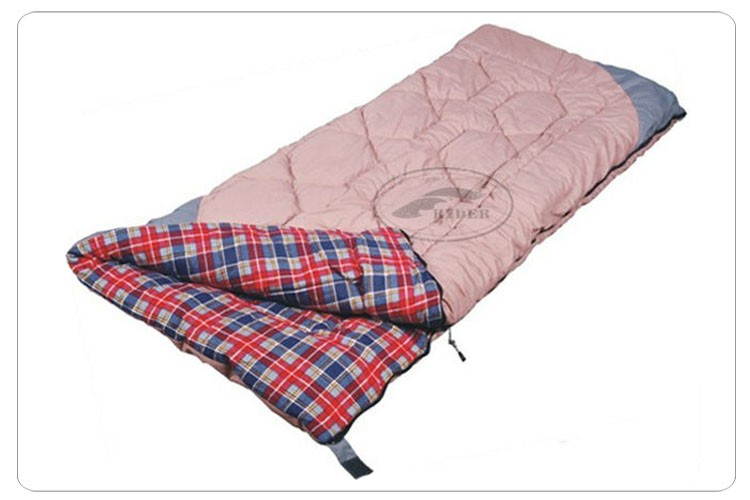Envelope Fully Open Quilt Style Blanket Plaid 100% Cotton Flannel Lined Sleeping Bag