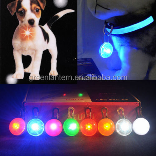 6 Colors Cute Pet Safety Flashing Dog Led Pendant Bone Collar Blinking Glow Light Pendant Tag For Dogs Puppy Cats