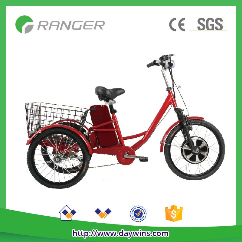 350W 36V10AH electric tricycle differential with pedals/throttle bar