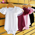 Wholesale Summer Blank Newborn Baby Girl Clothes Solid Color Ruffle Cotton & Tulle Flutter Sleeve Onesie Bodysuit