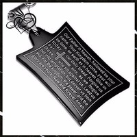 Stainless Steel Black Cross Lord's Prayer in English Pendant Necklace