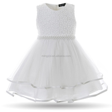 Pearls Infant Party Dresses Vintage Newborn Baptism Prom Gown Christening