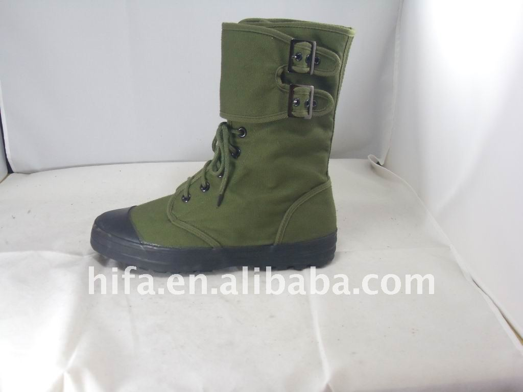 Olive Green Canvas Ranger Boots