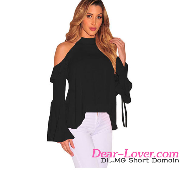 Wholesale Sexy Flirt Cold Shoulder Ruffle Flare Sleeve Women Clothing 2017