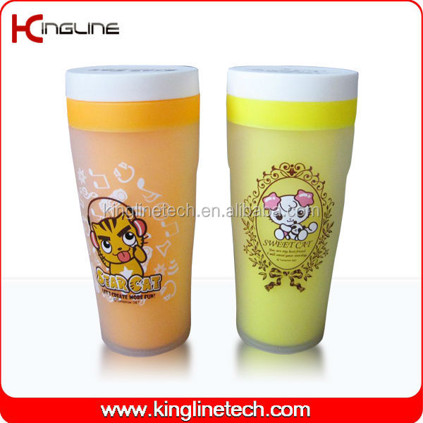 350ml plastic double layer coffee cup with lid (KL-5013)