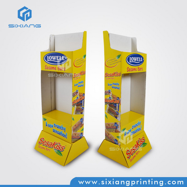 Easy-Assemble Promotional Corrugated Paper Cardboard Display Stand Food Display Floor Display