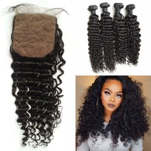 Malaysian Human Hair Bundles With Closure Silk Top Base 4x4 Baby Hair Virgin Deep Wave Hair Extensions
