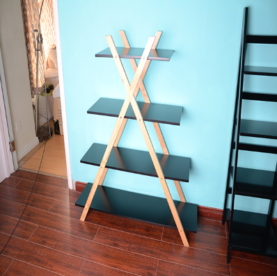 Wooden free standing floor shelf