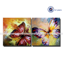 Wholesale Newest Design Handmade Canvas Group Abstract Butterfly Oil Painting