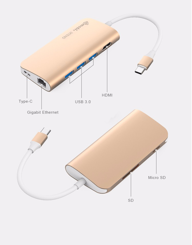 USB-C Hub, Premium Type C Hub with Power Delivery 3 SuperSpeed USB 3.0 Ports 1 HDMI Port 1SDHC Port 1 SD 1 USB-C Input C