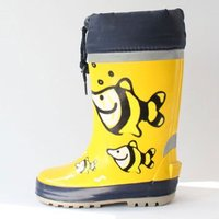 Kids yellow and fish picture, chaep and colorful rain shoes, safety and comfortable rain shoes