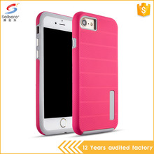 Low moq tpu pc texture cross stripes back cover case for iphone 6