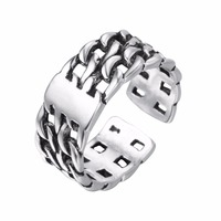 Fashion Unisex Silver Watch Chain Pattern Open Ring Latest Fine Pure Silver Jewelry Best Friend Gift