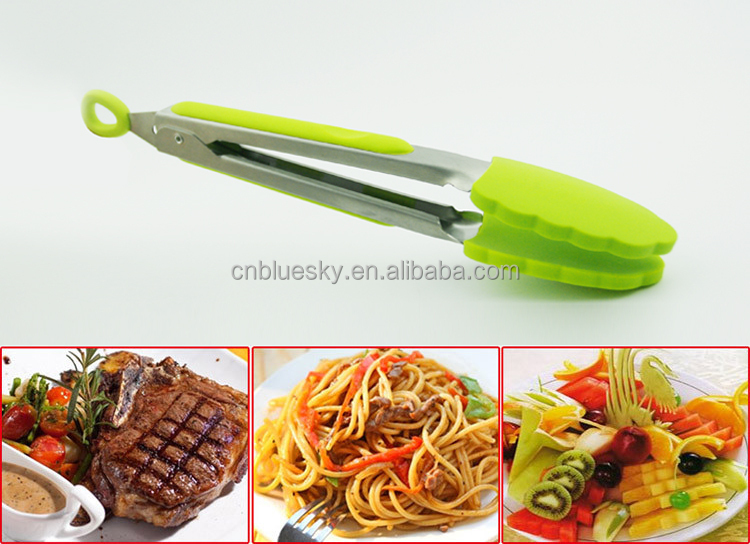 Silicone &Stainless Steel Kitchen Locking Tongs , Food Tongs,BBQ Tongs