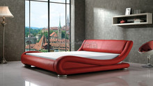 AONIDISI high quality modern red leather bed frame AY203A