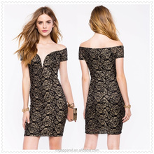 high quality shimmery gold rose printed finery luxe lace off shoulder dress
