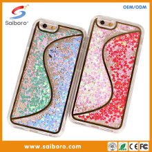 Hot sale flow liquid quicksand case for apple iphone6s crystal clear tpu mobile phone cover