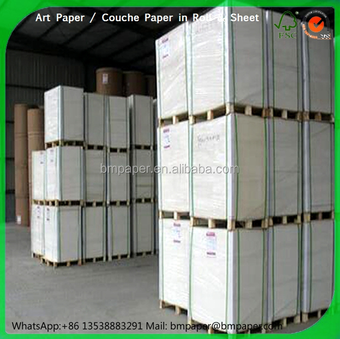 80gsm - 350gsm glossy and Matt two side coated gloss paper / art paper / coated paper papel couche with sheet and roll