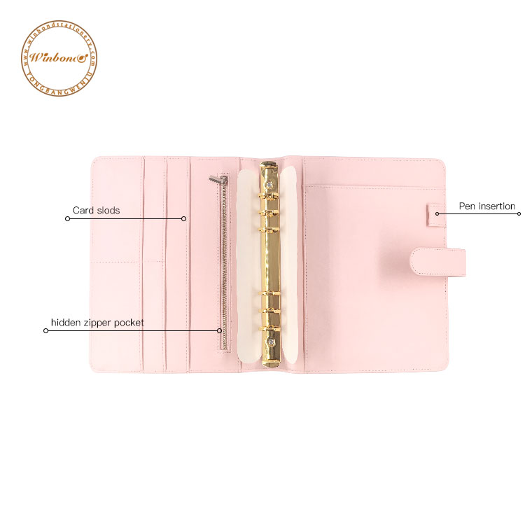 Professional made pink color A5 rings custom logo planner
