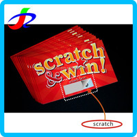 Customized Cr80 Paper Lottery Scratch Card win big prize