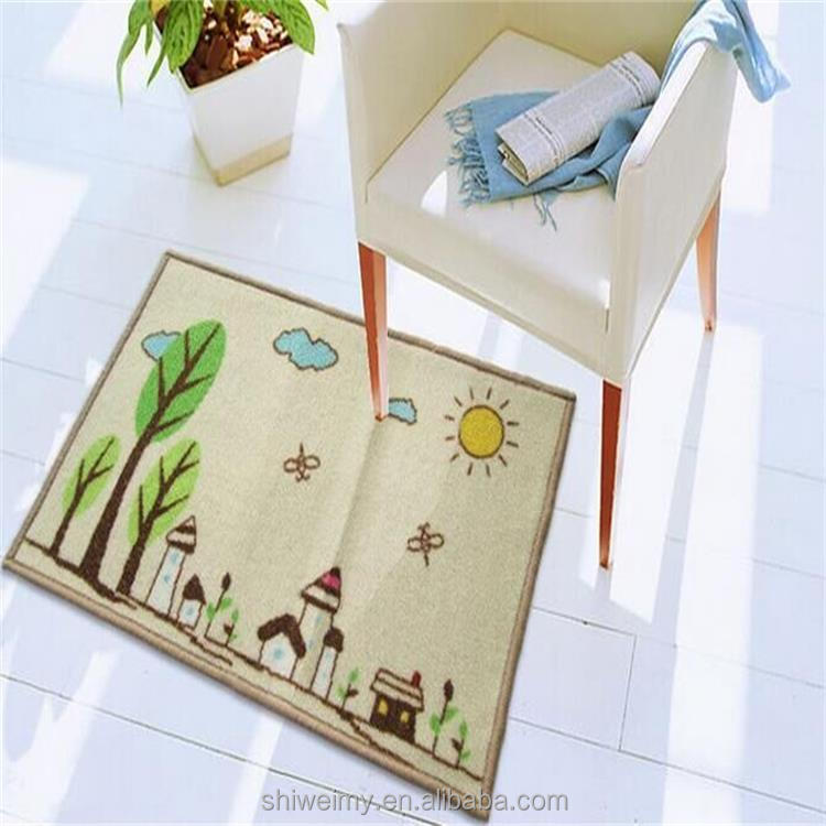 Cute anti slip printed nylon cartoon home mat