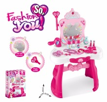 2017 new style pink girl plastic vanity table <strong>toy</strong> with mirror and light