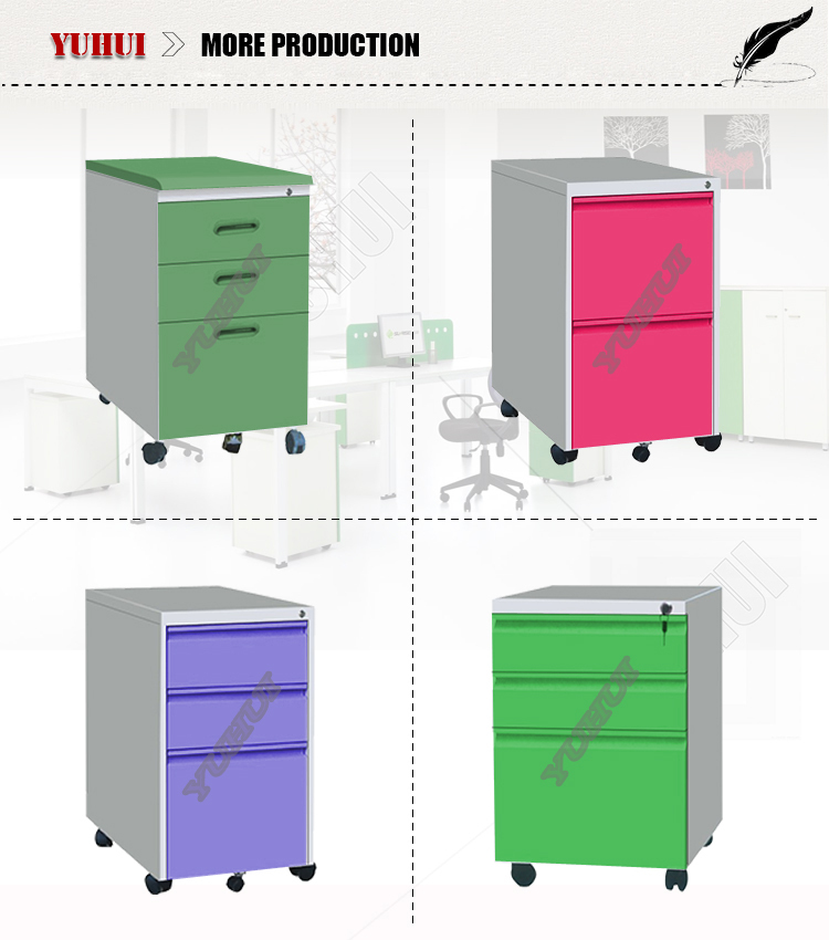 lateral metal drawer filing cabinet with 4 drawers/ metal lockable nightstand drawer cabinet