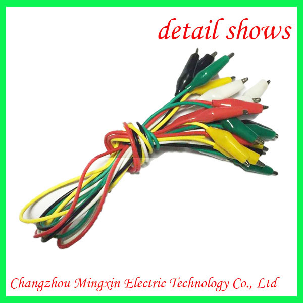 "10pc Test Lead Jumper Set Wires with Alligator Clips 5 Colors Coded 20"" Long"