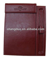 Hotel supplies leather memo pad holder with pen clip notepad