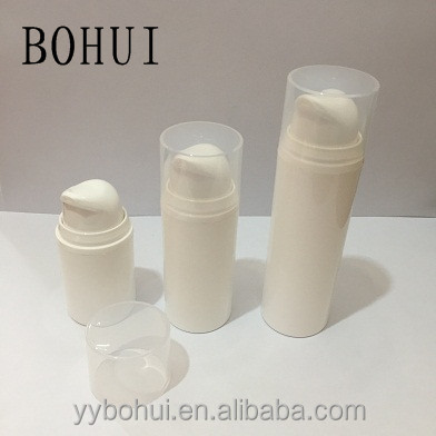 New design cosmetic PP plastic round airless bottle, airless cosmetic lotion bottle