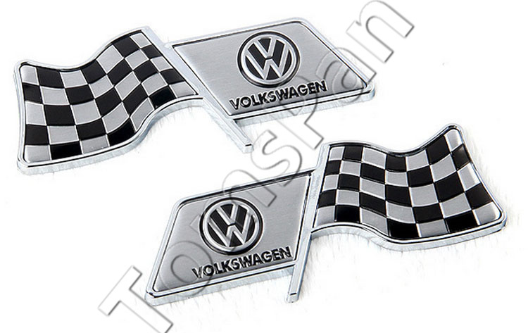 High quality 2pcs/lot aluminum plating Black white flag racing fender car sticker for vw volkswagen cars tank tail decoration