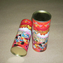red cartoon paper can with tin lid for packing