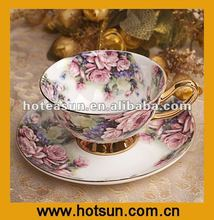 New Bone China Golden Chinese Tea Cup with Flower Paatern 2A364