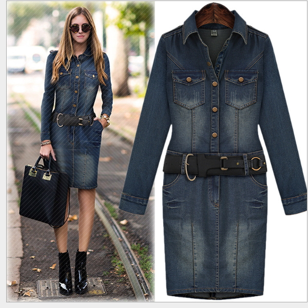 MS67730W latest design plus size XL to 4XL women denim dress