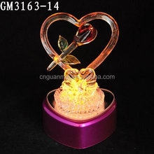 Heart Shape Flower Decoration LED Glass Valentine Day Gift