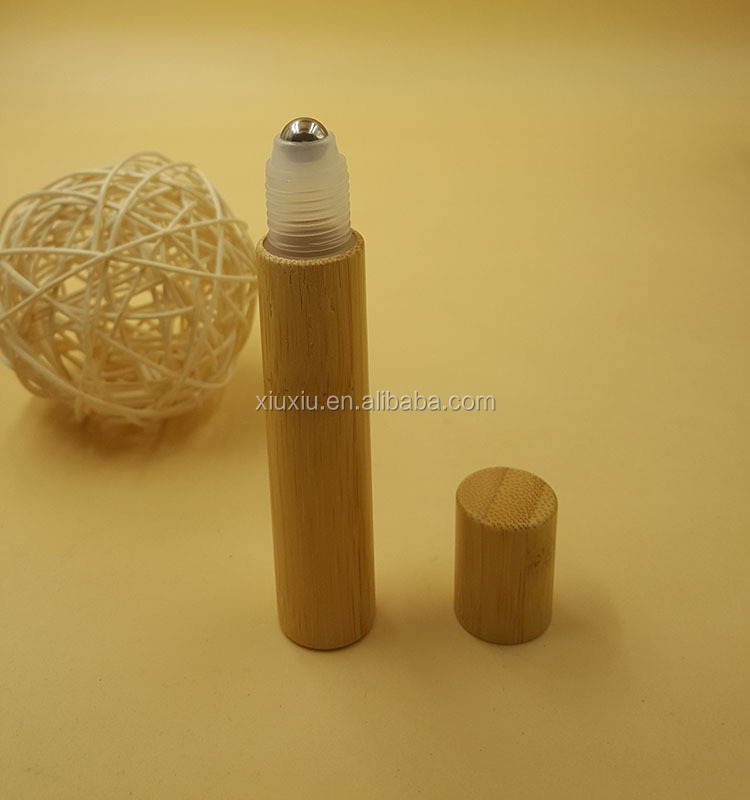 CUSTOM 8ML 10ML BAMBOO ROLL ON BOTTLES, EMPTY COSMETIC ROLLER BALL BOTTLES WITH BAMBOO CAP