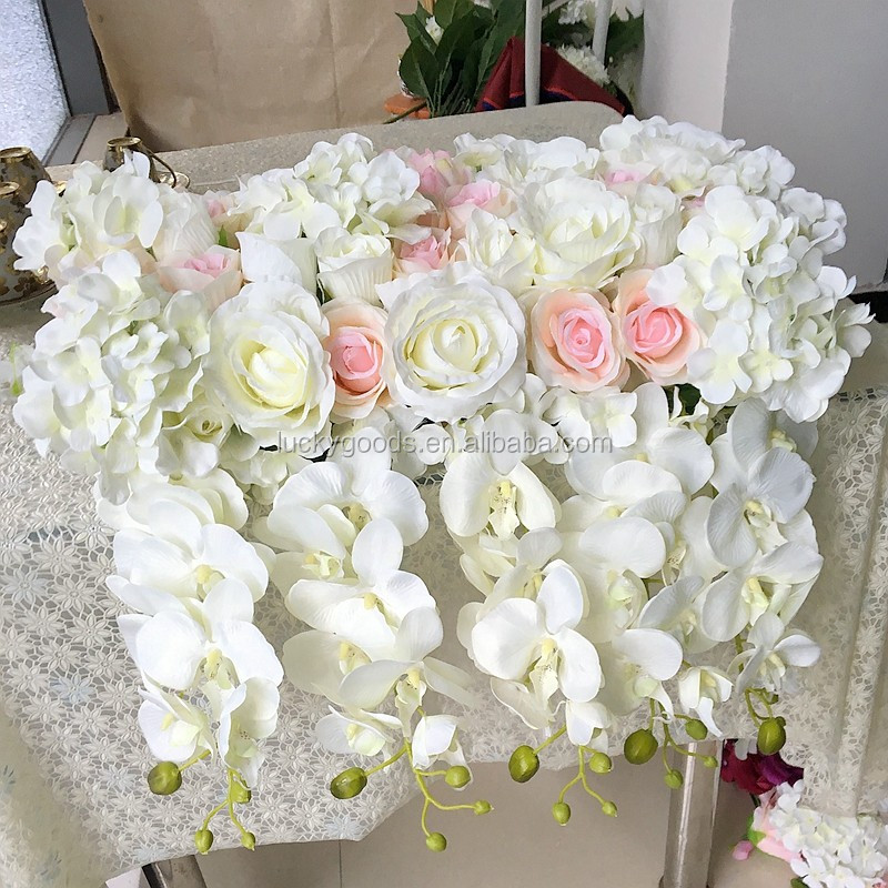 LFB364 cream white personalized wedding party rose hydrangea road flower wholesale