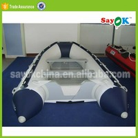 rigid pvc inflatable fishing boat used inflatable rescue boat with aluminium floor for sale