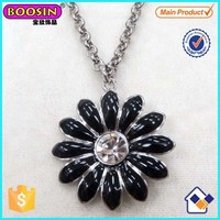 Hot Sale Alloy Elegant Black Shiny Big Flower Pendant Necklace Custom Jewellery # 16768