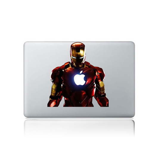 Free shipping 2400dpi IRON MAN decal for apple laptop sticker 13 macbook pro air  Computer laptop stickers decal  decalque