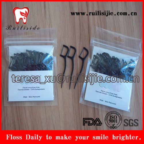 plastic bag pack bamboo charcoal dental floss toothpicks with custom paper card