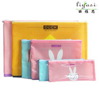 wholesale hot selling cheap cute cartoon bunny waterproof pvc pencil bags for school students