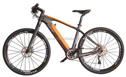 Exotic carbon fork bike e bike,Showy carbon MTB with KING-METER 800S LCD display front and rear brake