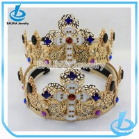 Trending 2015 fashion crystal jewelry elastic alloy gold crown hair band
