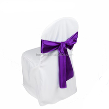 China Zhejiang wholesale polyester banquet chair cover with satin sash